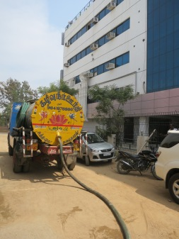 A sewage removal truck in Hyderabad, India