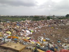 A waste collection site in Hyderabad, India